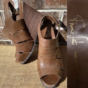Franco Sarto Shoes - Franco Sarto Brown 'Ivory' Wedge Sandal 8